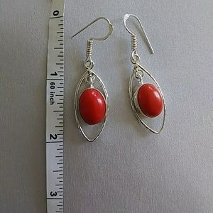 925 marked silver hanging earrings red